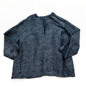 Eileen Fisher charcoal linen cardigan lagenlook 1X